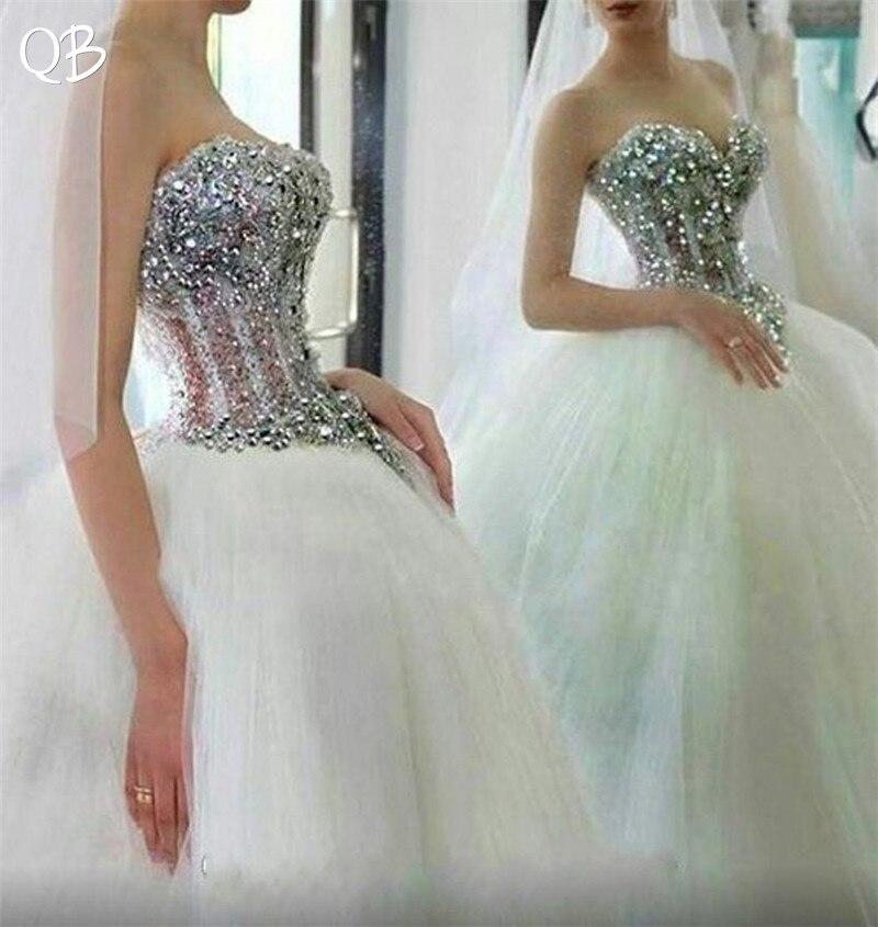 100% Réel Photos robe de Bal Sweetheart Cristal Diamant Dentelle Perlée De Luxe Romantique De Mariée robes de mariage Robes De Mariée XL06