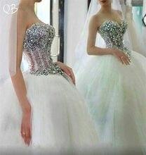 114c1e35cf8c 100% Immagini Reali Abito di Sfera Dell innamorato del Diamante di  Cristallo Del Merletto In Rilievo di Lusso Da Sposa Romantico.