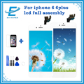 Branco/preto para iphone 6 6 plus display lcd touch screen digitador completa substituir + camera + botão home + sensor flex cabo + ferramentas + vidro