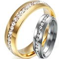 Men Women 8MM Size 5-15 Silver Gold Stainless Steel Crystal CZ Inlay Wedding Engagement Ring Band Cluster Couple Anniversary