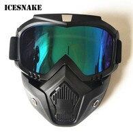 ICESNAKE Motorrad-schutzbrille Mit Gesicht Maske Helm Sonnenbrille Ski Bike Zyklus Motocross Motorrad Motor Abnehmbare Goggle Gläser