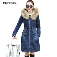 Winter Fur Denim Jacket women Bomber Jacket Long Sleeve Washed Blue Jeans Jacket New Thicken Plus velvet Warm cowboy Coat Female