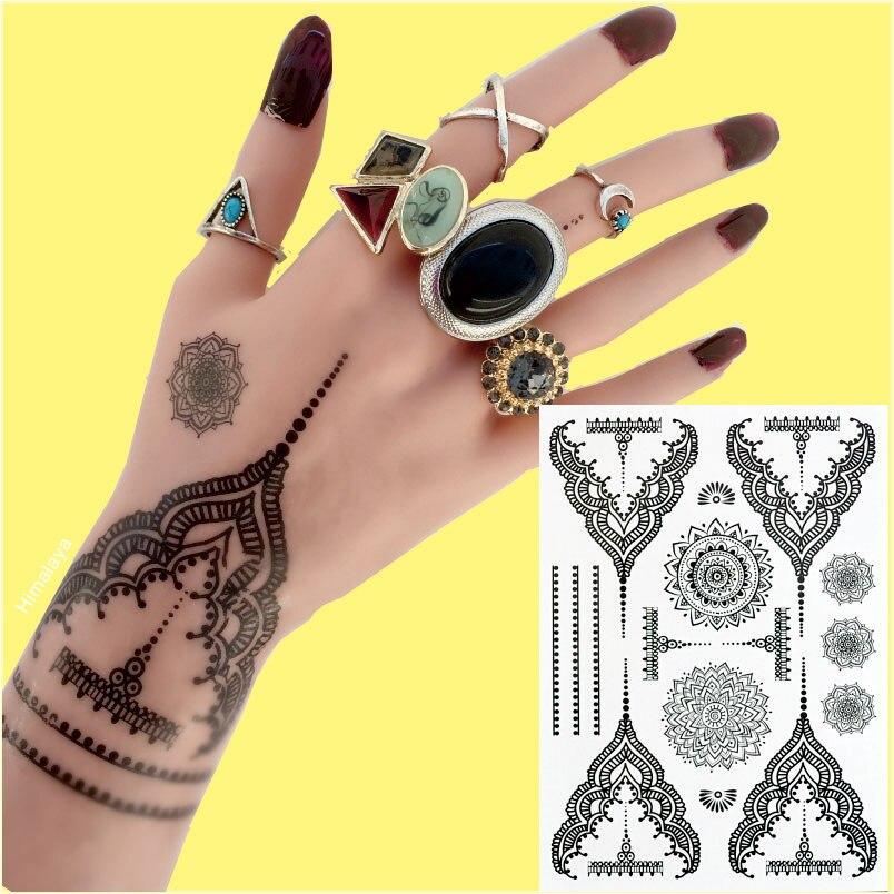Temporary Black Henna Tattoo: #BH 4 Pretty Temporary Black Henna Tattoos Waterproof
