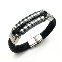 Leather Mens Bracelet Woven Gold Fashion Rock Goth European and American Punk LCL993