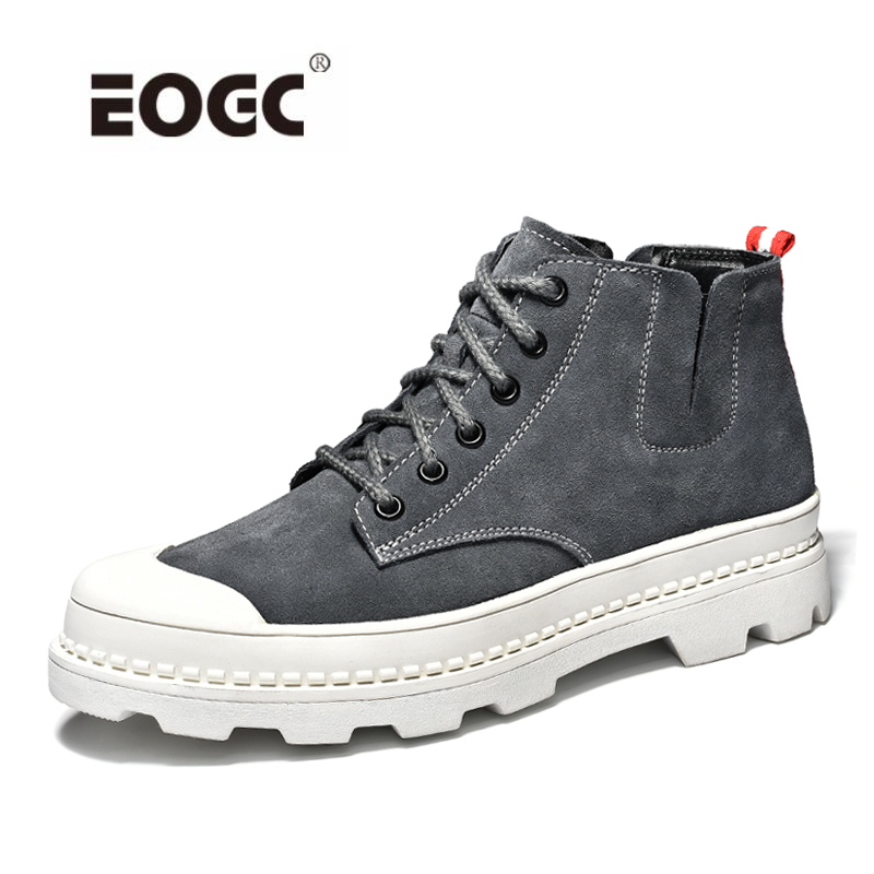 Genuine Leather Men Boots Autumn Winter Boots Anti-skidding Ankle Boots Lace Up Outdoor Shoes Men hot sale men fashion shoes breathable anti skit genuine leather ankle boots for men lace up comfortable desert boots yellow
