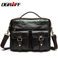OGRAFF Genuine Leather Bag Designer Handbags High Quality Cowhide Tote Briefcases Brand Business Crossbody Bag Men