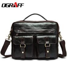 OGRAFF maletines bolsas de piel de Vaca bolso de cuero Genuino bolsos de diseño de alta calidad de marcas famosas bolsa de los hombres bolsa de mensajero crossbody