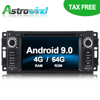 64G ROM No Tax Android 9.0 Car DVD Player GPS Navigation System Stereo Media Radio for Chrysler Sebring 300C Cirrus Dodge Jeep