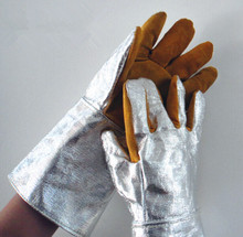 Бесплатная доставка горячей продажи ДЕЛЬТА алюминиевой фольге кожаные рабочие перчатки безопасности защитные перчатки теплоизоляцией 250 по цельсию