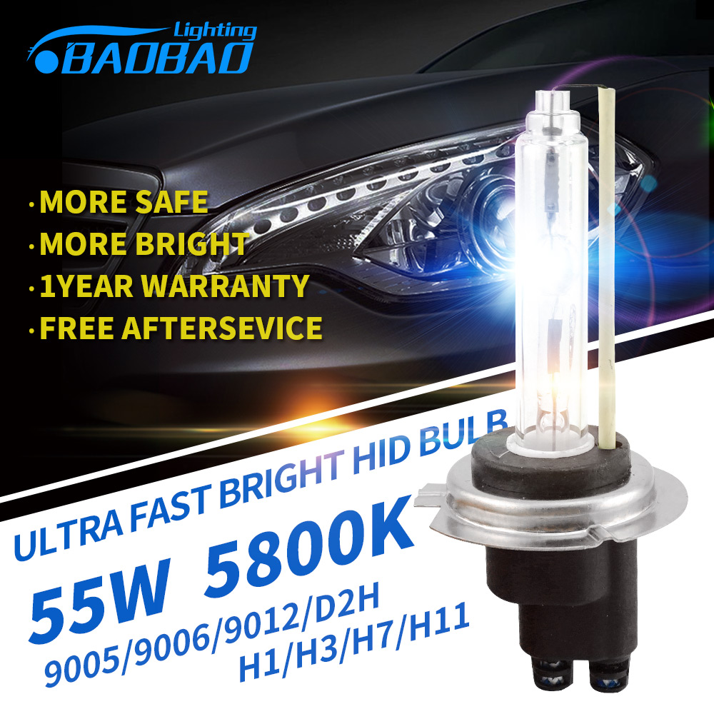 BAOBAO Ultra Fast Bright Car HID headlight Bulb 55W 5800k 5200Lm Fog light car styling HID xenon Bulb H1 H3 H7 H11 9005 9006 D2H d8s hid xenon bulb metal holder 35w 55w car styling hid bulbs for headlight high intensity discharge fast start car headlight