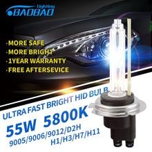 BAOBAO очень быстро яркий автомобилей HID фар лампа 55 Вт 5800 К 5200lm Тюнинг автомобилей HID ксеноновая лампа H1 H3 H7 h11 9005 9006 D2H