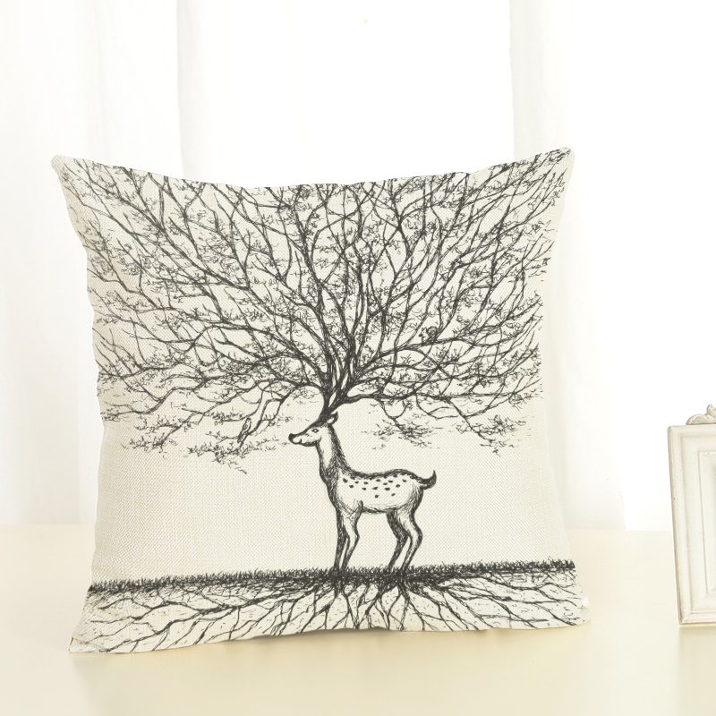 2017 Retro style high quality plant deer linen pillow decoration linen mat no fill