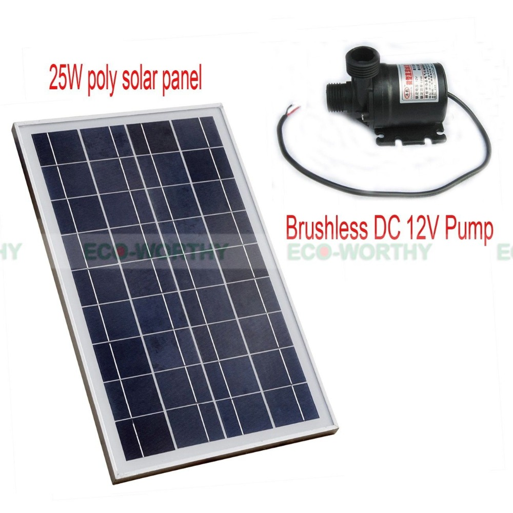 USA Stock 25Watt Poly Solar Panel with Brushless DC12V Pump Hot Water Circulating Pump