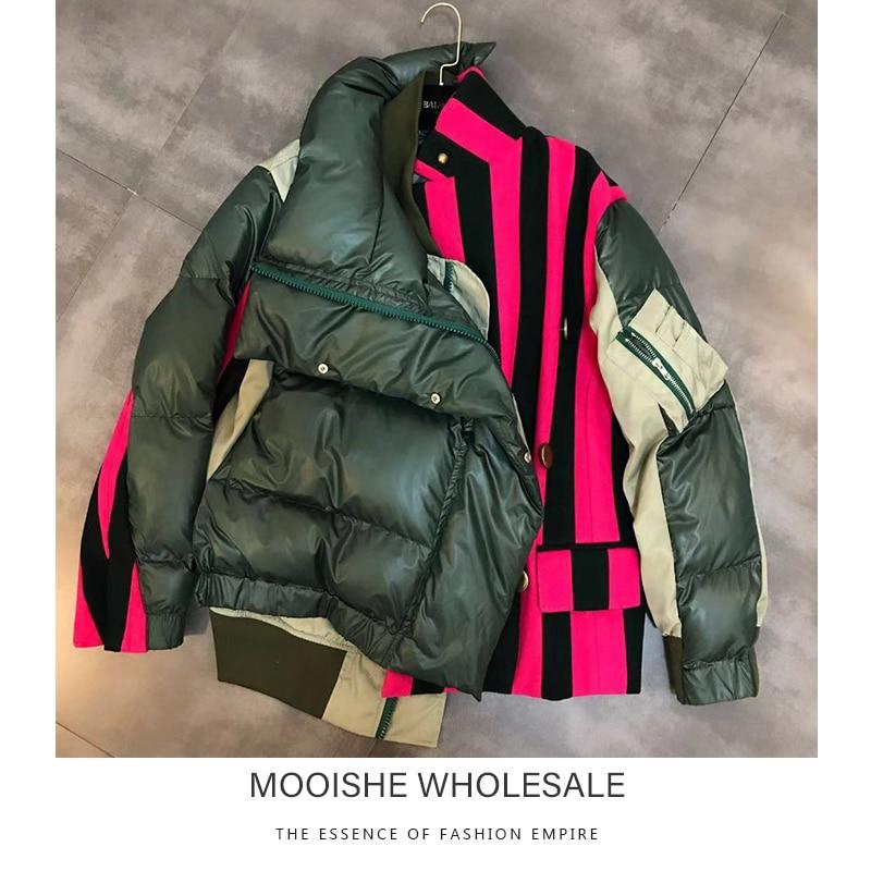 Contrast Panel Puffer Jacket Army Stripes Women   Parka   Cotton Coat