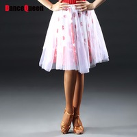 Fashionable Latin Dancing Skirts For Ladies White Gauze Feminine Cheer Leading Clothe Fringed Galop Trot Square