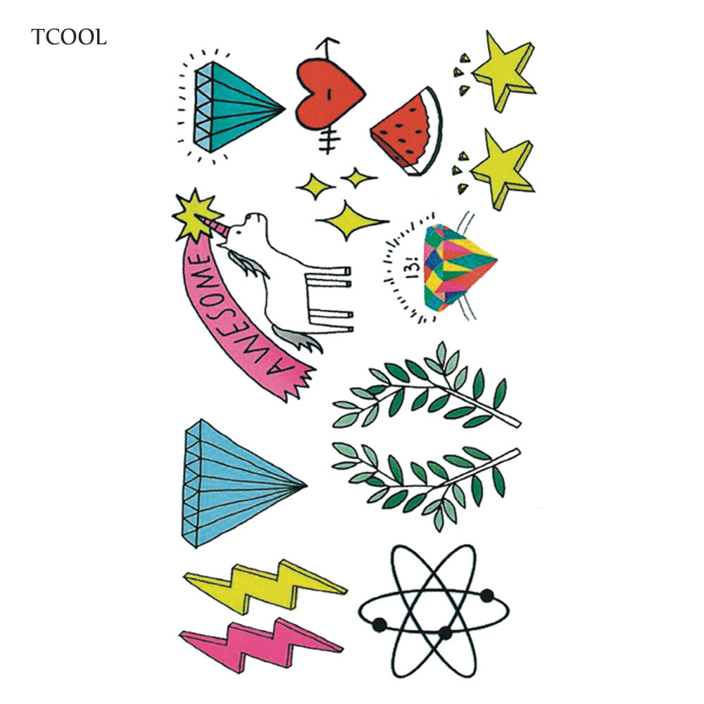 HXMAN Cartoon Kids Temporary Tattoos Waterproof Fashion Fake Body Art Tattoo Sticker 10.5X6cm Girl Hand Tatoo MX-024