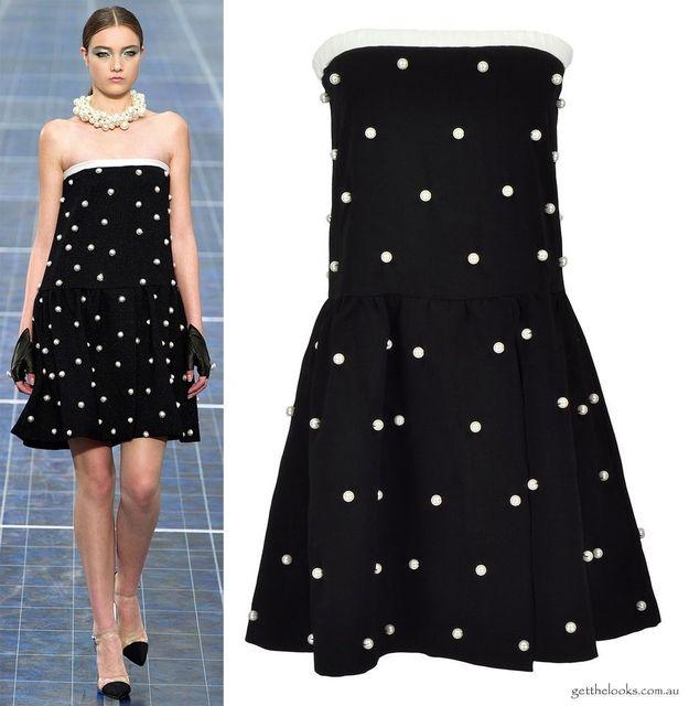 Elegant Pearl Dot Black White Monochrome Strapless Skater Dress