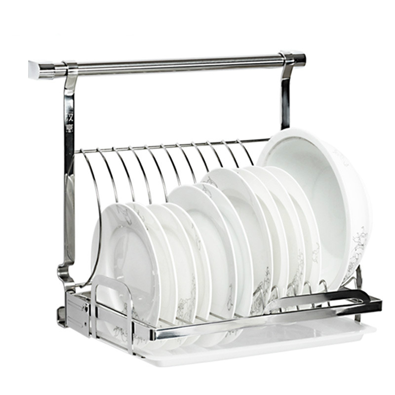 Kitchen stainless steel pendant wall mounted storage dish rack and folding drip tray design LU4191