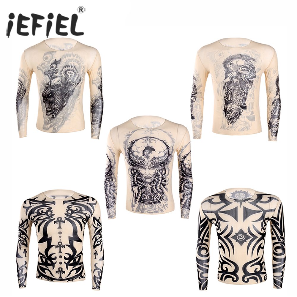 iEFiEL Fashion Costumes Mens   t     shirt   Fake Tattoo Design Elastic See Through Full O-Neck   T  -  Shirt   for Men's Halloween Clothing