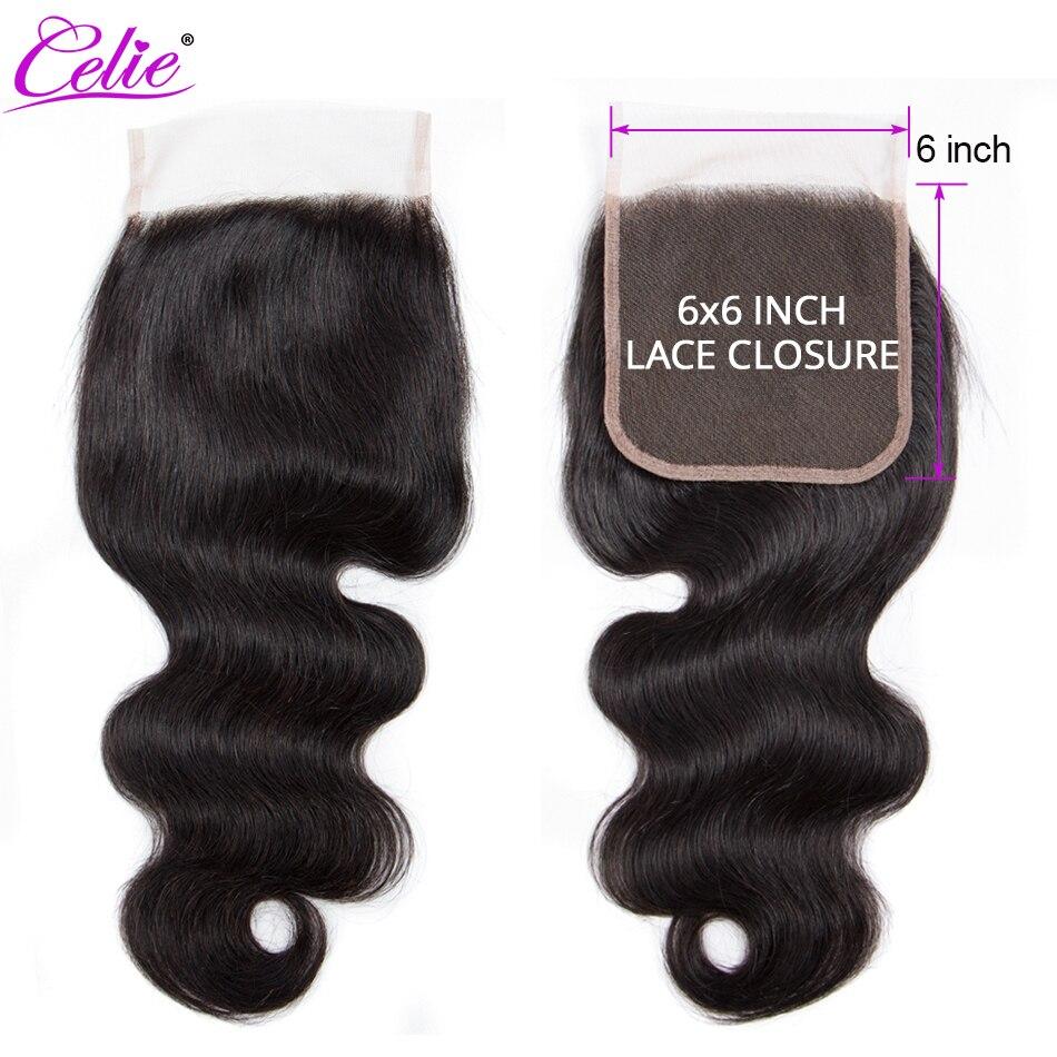Бразильские волнистые волосы, 6x6, кружевное закрытие, свободные/Средние/три части, человеческие волосы Remy, предварительно выщипываемые
