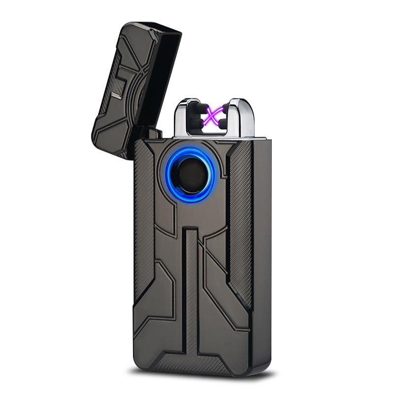 New Iron Man Design Fingerprint Touch Switch USB Rechargeable Pulsed Arc Lighter Electric Plasma Cigarette Lighter Cigar Weed image