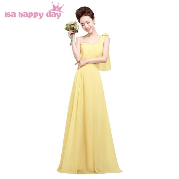 3b1207b4827c Grecian chiffon vestito da bridesmaide 2019 giallo di lunghezza del  pavimento lungo delle donne di nozze bridemaid uno abiti monospalla fiore  H1181 in ...