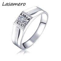 LASAMERO Rings for Men 0.108CT Round Cut Natural Diamond Ring 18k White Gold Engagement Wedding Ring