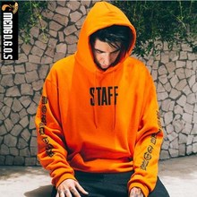 MENGDGOS Cotton Orange Letter Kanye West Purpose Hip Hop Skateboard Hoodies Men Full Streetwear High Street Sweatshirts London