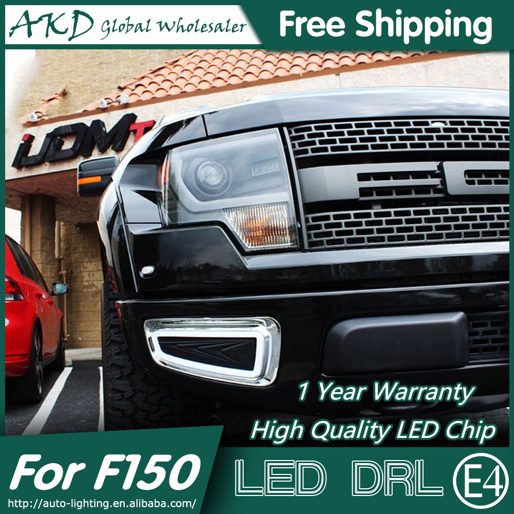 AKD Car Styling for Ford F150 DRL 2012-2015 Rator LED DRL LED Fog Lamp Daytime Running Light Fog Light Parking Accessories hireno super bright led daytime running light for ford raptor f150 f 150 2010 2011 2012 2013 2014 car led drl fog lamp 2pcs