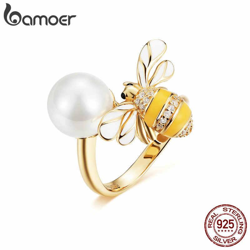 BAMOER 925 Stelring เงิน Biocolor เคลือบ Bee แมลงมุกขนาดเปิดแหวนนิ้วมือสำหรับผู้หญิง Elegant PARTY เครื่องประดับ GAR017