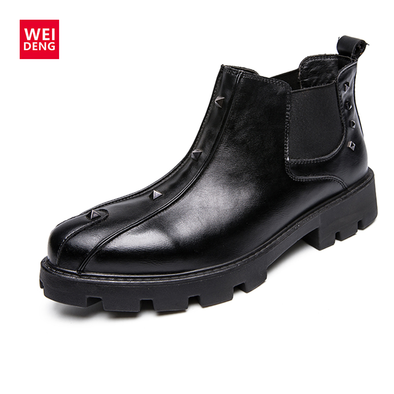 WeiDeng Fashion Men Ankle Boots Casual Men Genuine Leather Chelsea Boots Martin Breathable Slip On Boots Military Shoes цены