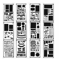 Bullet journal estêncil diário diy modelo de desenho conjunto 12 peças de plástico formas scrapbook estênceis gráficos para crianças