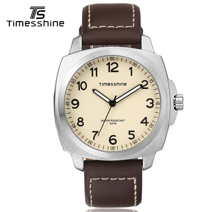 Timesshine Men Quartz Watch Hard Glass Stainless Steel Silver Case Beige Watch Leather Analog Numbers 5ATM Waterproof watch men timesshine women watch quartz watch