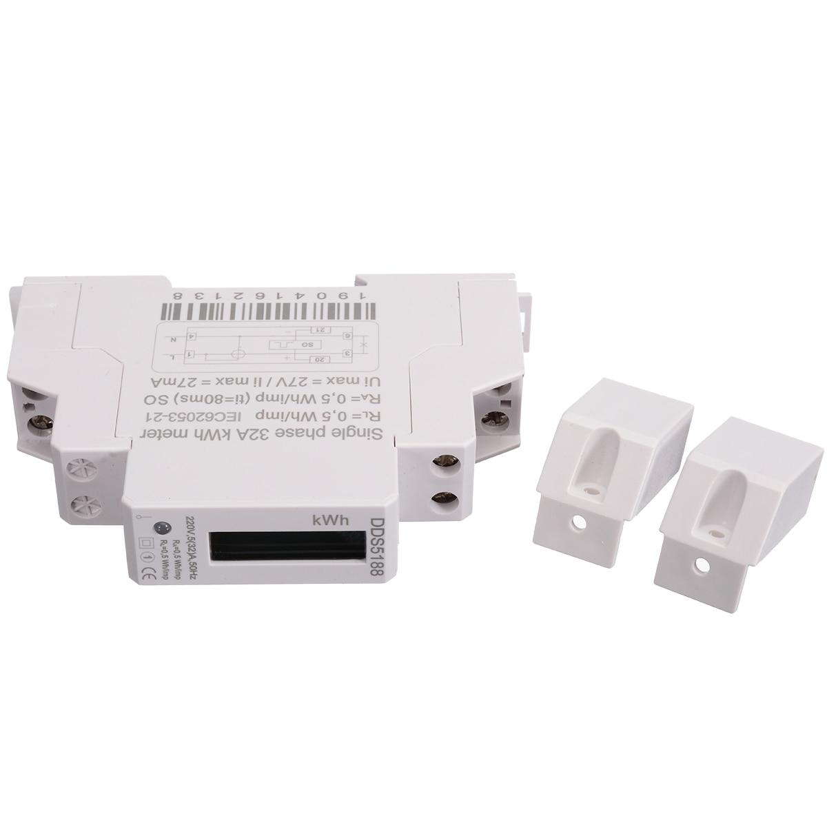 DDS5188 LCD 5 32 A 230V AC Single Phase Pole DIN Rail Kilowatt Hour kwh Meter Energy Power Meter Digital LED Display in Energy Meters from Tools