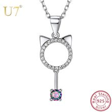 U7 925 Sterling Silver Cute Cat Ear Animal Pendant Necklaces Mystic CZ Kitten Necklace Women Silver Jewelry Christmas Gift SC227(China)