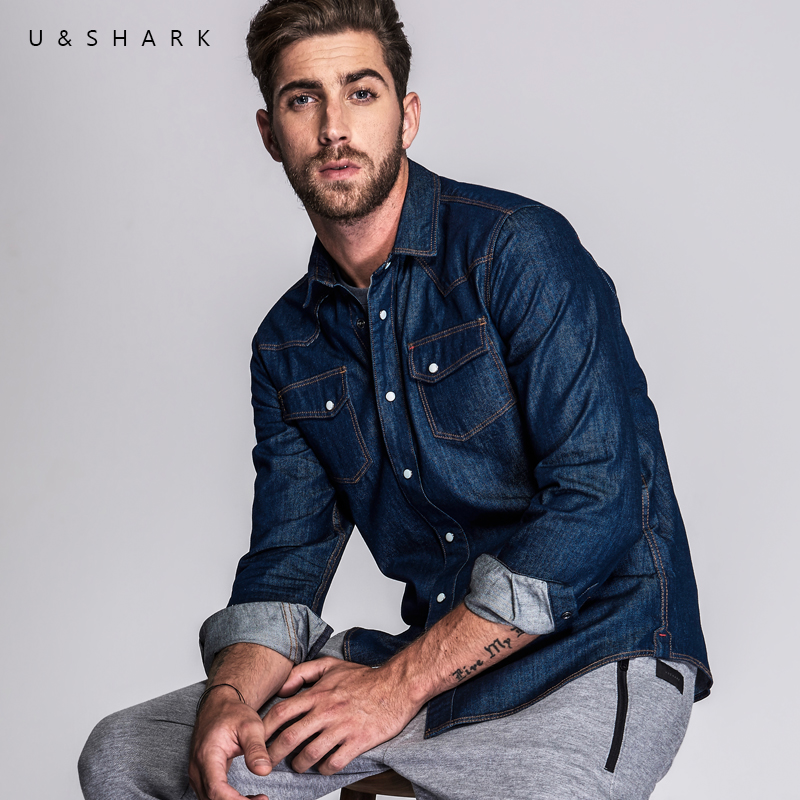 British Style Cotton Denim Shirt Brand Men Blouse Casual Clothing 2016 U Shark Autumn New Long