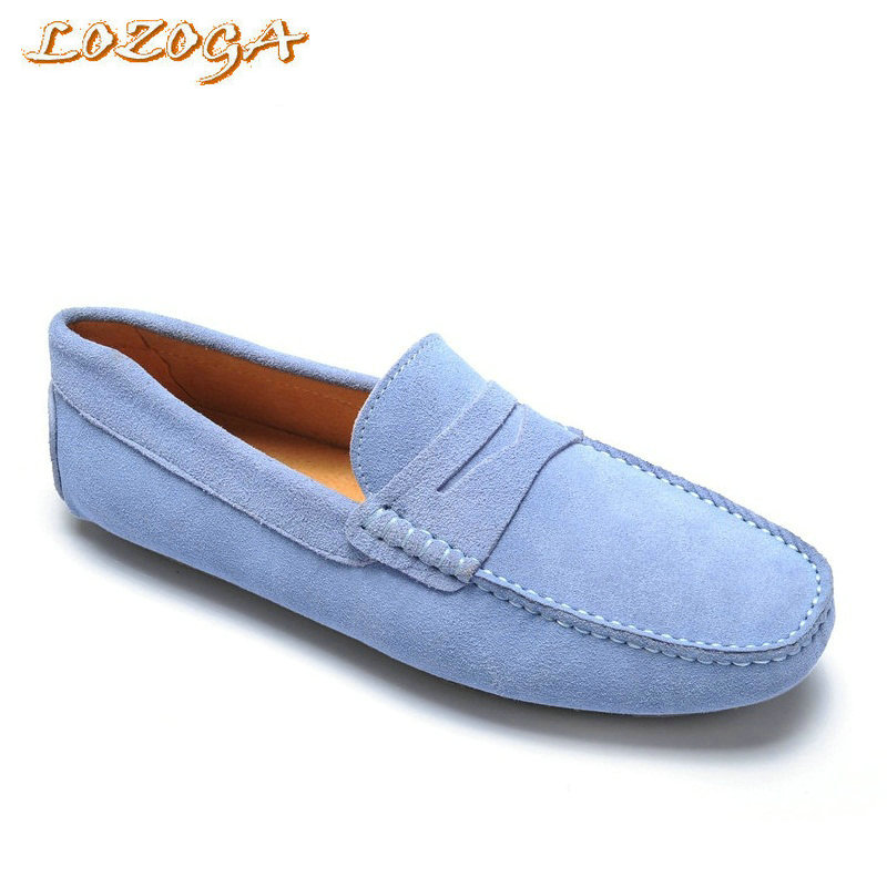 Classic Casual Shoes Comfortable Men Flats Shoes Cow Suede Leather Loafers Fashion Original Brand Slip On