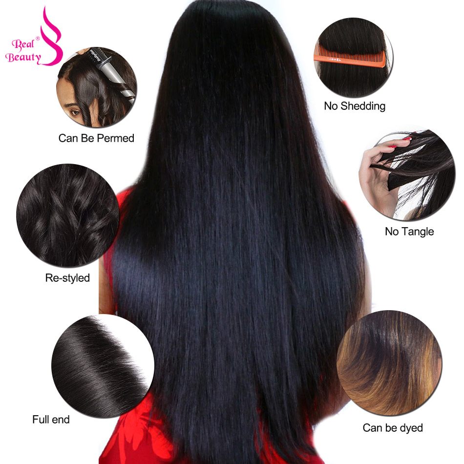 Real Beauty Brazilian Straight Hair 3 Bundles With Lace Closure MiddleFree3 Part 100% Human Hair Weave Bundles 8-26 Non Remy7