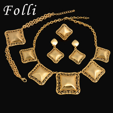 Fashion Vintage Dubai Real Gold Plated Jewelry Set Charm Classic The Great Wall Pattern Big Jewelry