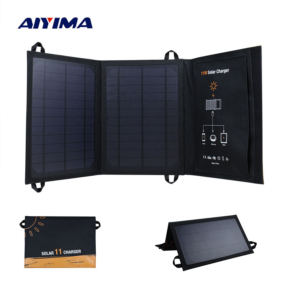 AIYIMA 11W USB Solar Power Bank Portable Waterproof Solar Panels Battery Charger Camping Travel Folding For Phone Charging Kits new solar panel 30000mah diy waterproof power bank 2 usb solar charger case external battery charger accessories