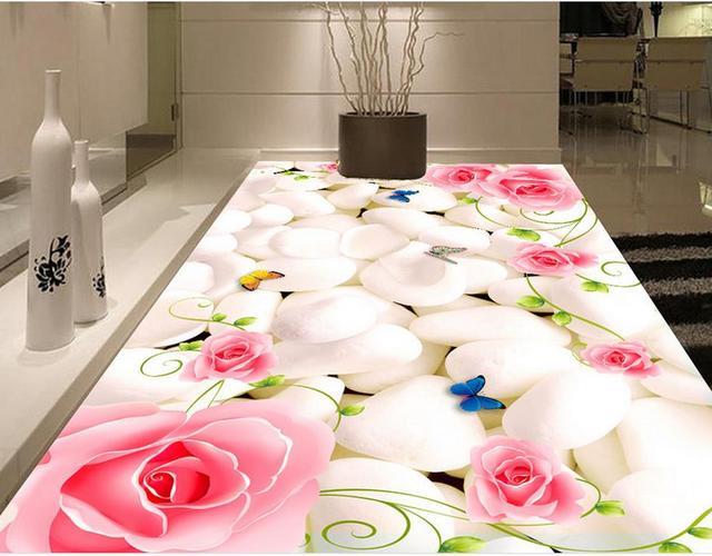 Kitchen Vinyl Floor Tiles Wheeled Island Custom High Quality 3d Flooring Photo Wallpaper Rose Flower Pebbles
