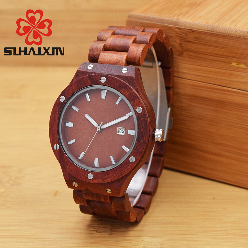 SIHAIXIN Men Watch De Wood Top Brand Red Calender  Special Watches For Male With Unique Design All Wooden Clock Man Relogio sihaixin wooden watch male timepiece simple black design men top brand wrist watches nature hand made bamboo quartz clock man de