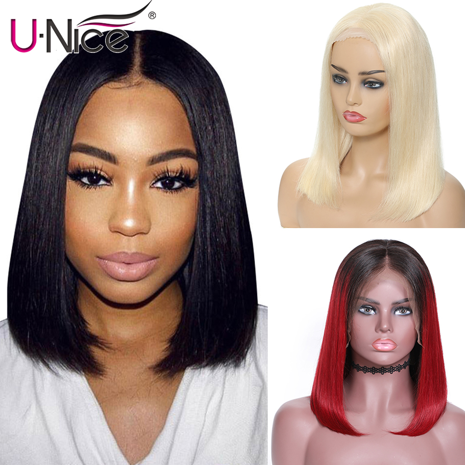 UNice Hair 13x4 &13x6 Blonde Short Lace Front Human Hair Wigs 8-14 Inch Brazilian Remy Hair Bob Wig with Pre Plucked Lace Wigs(China)
