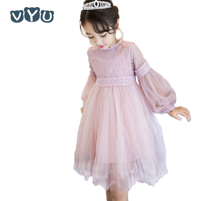 VYU 2017 New Dresses For Girls Cute Lace Solid Long Lantern Sleeve Children Dress O-Neck Ball Party Princess Baby Kids Clothing 4pcs new for ball uff bes m18mg noc80b s04g