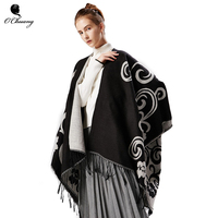 Winter Poncho Scarves Women Pashmina Abstract Pattern Super Warm Shawl Slit Classic Look Jacquard Scarf Thicken Wraps Stoles