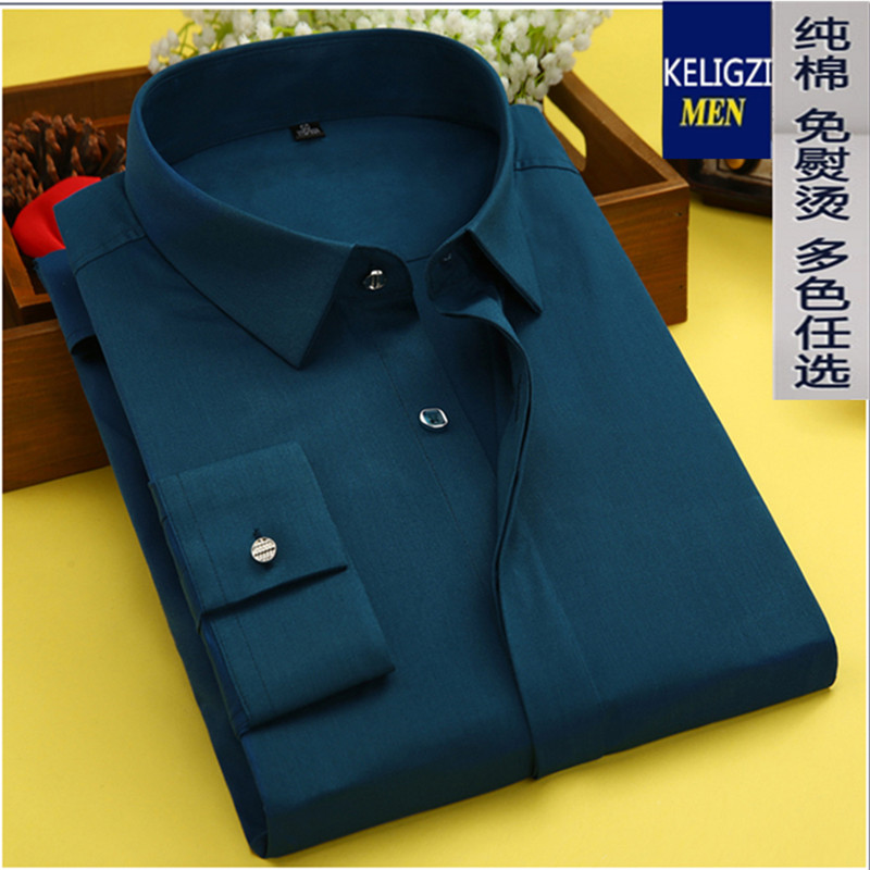 new arrival high quality Spring clothing men's long-sleeve shirt male Large 100% cotton solid color plus size M -8XL 9XL