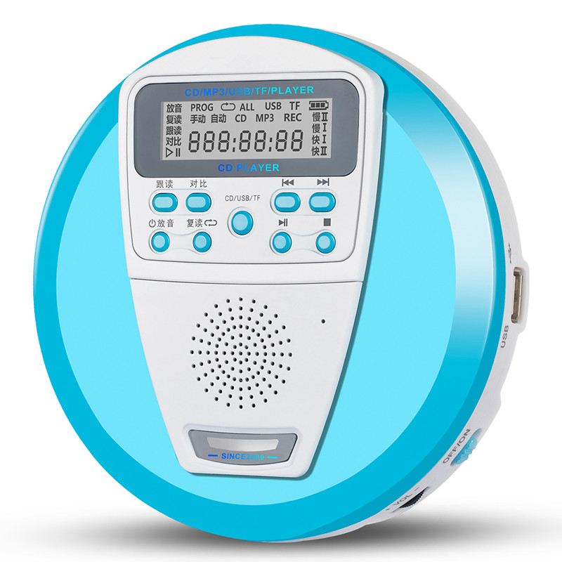 Přenosný CD walkman externí uvolňovač s reproduktorem TF karty U disk přehrávač šikmé stroje vysoce věrné reproduktory MP3 usb