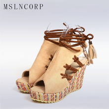 Size 34-43 Bohemian Women Sandals Ankle Strap Straw Platform Wedges For Female Shoes Fashion Lace up