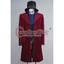 Custom Made Charlie and the Chocolate Factory Movie Johnny Depp Willy Wonka Costume Coat Halloween Cosplay Costume D0428