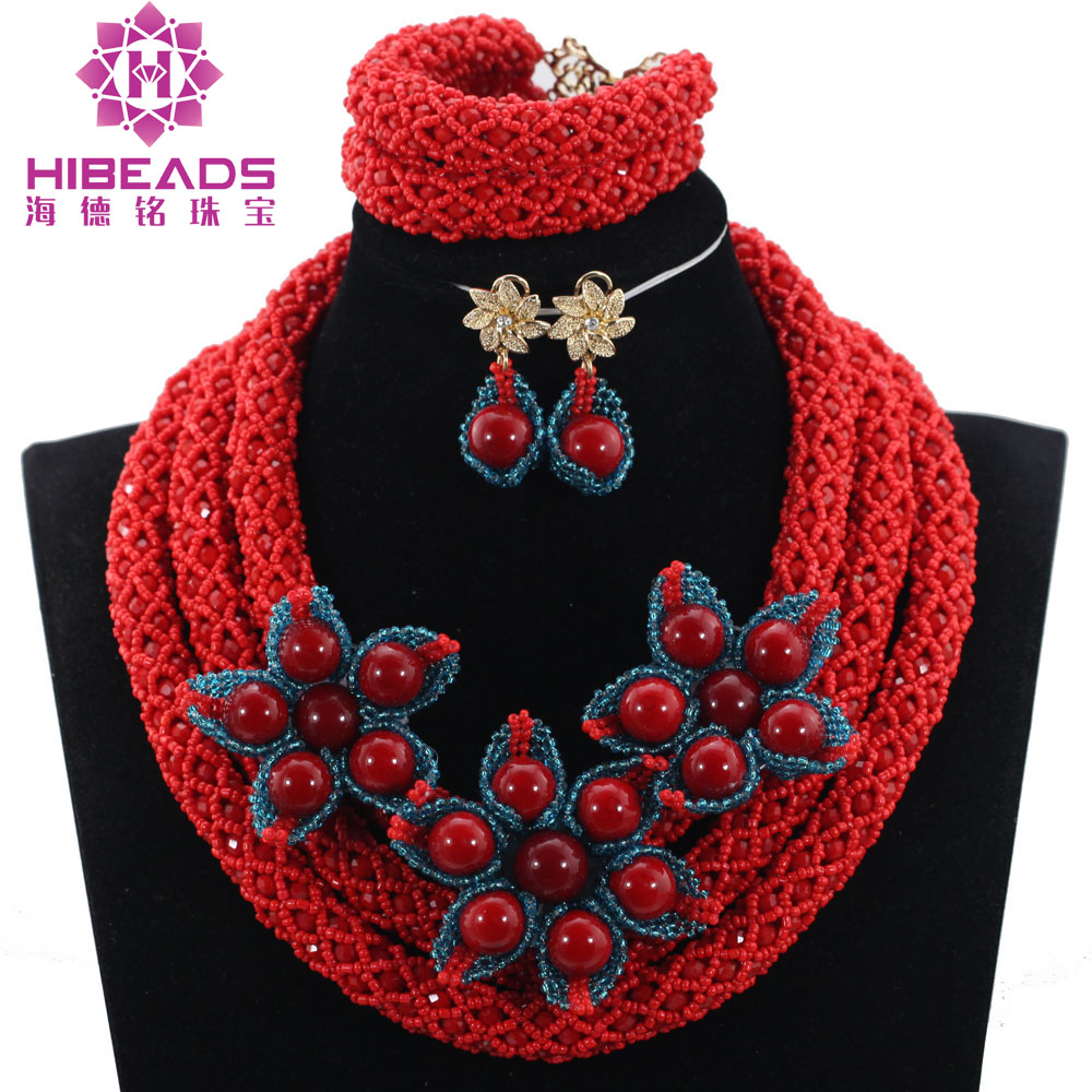Fashion New Teal Blue Flower Brooch Pendant Women Jewelry Set Popular Red African Fashion Beads Jewelry Sets Free ShippingABH405